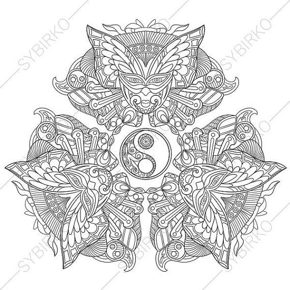 Yin Yang Mandala Coloring Page. Adult by ColoringPageExpress