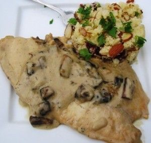 Tilapia in mushroom sauce