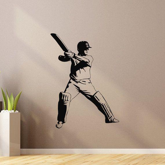 Sports Wall Decal Vinyl Sticker Cricket Bat Ball Sport