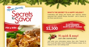 Lipton Secrets to Savor Pin & Win Sweepstakes – Win $2,500!: Win 2500