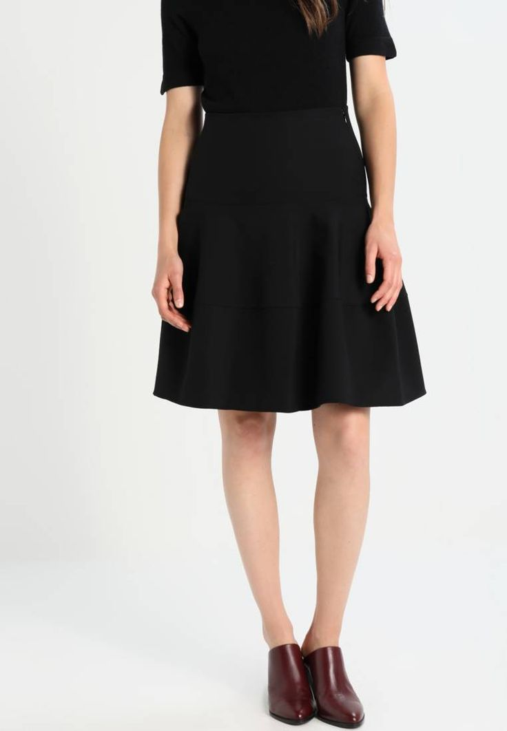 """Patrizia Pepe. COROLLA - A-line skirt - black. Fit:regular. Our model's height:Our model is 70.0 """" tall and is wearing size 10. Outer fabric material:88% poly amide, 12% spandex. Care instructions:Dry clean only. Pattern:plain. Details:zip fast..."""