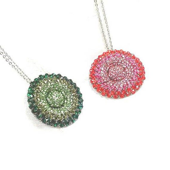 Upcycled Crystal Circle Necklaces In Sterling Silver Handmade Jewelry By NorthCoastCottage Jewelry Design & Vintage. Select green or red palette, each lovely on its sterling silver chain.
