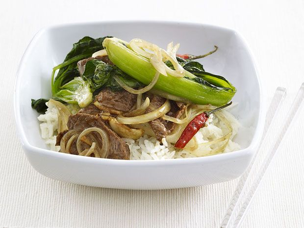 Spicy Beef Stir-Fry from FoodNetwork.com~~This is easy & tasty (don't shy b/c of long list of ingredients. I do rec @ least doubling sauce. I like the bok choy largely chopped also. Add any veggies you have on hand! jb~~