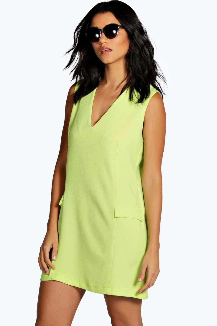 #FashionVault #boohoo #Sale #Women - Check this : boohoo Nerri V Front Panelled Shift Dress - lime for $32 USD instead of $14 #OnSale