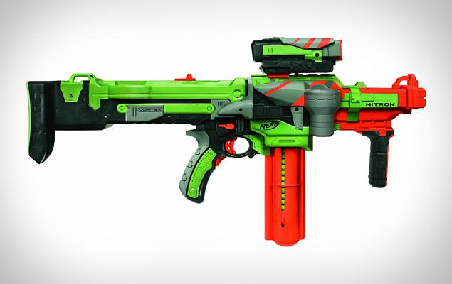 Nerf Vortex Nitron Blaster    If Nerf's previous guns simply weren't cutting it for your backyard battles, upgrade your arsenal with the Nerf Vortex Nitron Blaster ($45). The newest addition to Nerf's toy gun line, the Vortex Nitron uses a battery-powered motor to shoot discs at frighteningly long ranges, and also features a 20-disc clip, onboard storage for additional magazines, an electronic scope with targeting lights, and compatibility with Tactical Rail System accessories. A perfect…