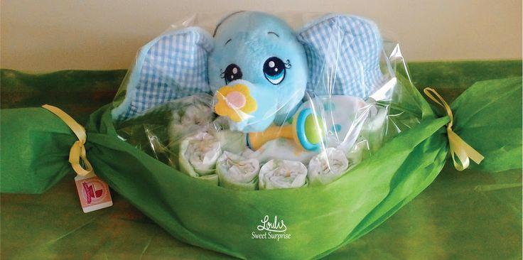 Diaper caramel with elephant! Diaper cake #Loulis_Sweet_Surprise