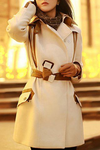 Stylish Lapel Neck Faux Leather Splicing Lace-Up Long Sleeve Women's Coat