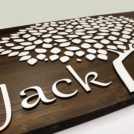 Alternative Wedding guest book tree leaves singing3D wood