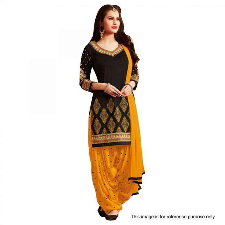 Buy Black - Yellow Patiala Suit for womens online India, Best Prices, Reviews - Peachmode