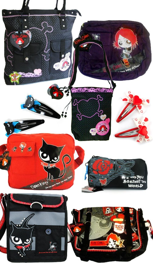 Ruby Gloom - Product Collage - Bags and Hairclips - DarkSideofCute
