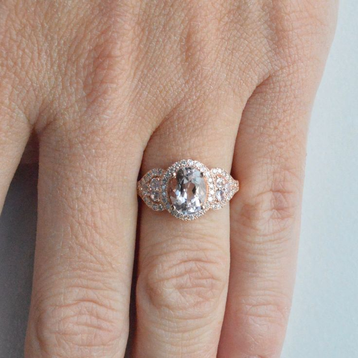 Oval Pink Morganite Engagement Ring, 14k Solitaire Engagement Ring, 14k Alternative Engagement Ring, Anniversary Ring by barzahav on Etsy https://www.etsy.com/listing/271229364/oval-pink-morganite-engagement-ring-14k