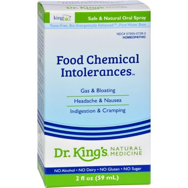 King Bio Homeopathic Allergy Food and Chemical Relief Description: For relief of minor symptoms of mucus congestion, headaches, gas, bloating, itchiness and mil