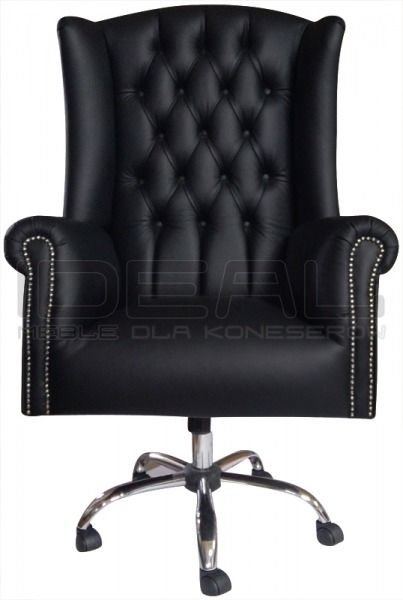 Fotel Chesterfield, styl angielski, armchair, głęboko pikowany, skóra, skin, czarny, black,  comfortable, wygodny, na kółeczkach, do kancelarii  fotel_chesterfield_kanclerz_a_20151016_132627_HDR.jpg (403×600)