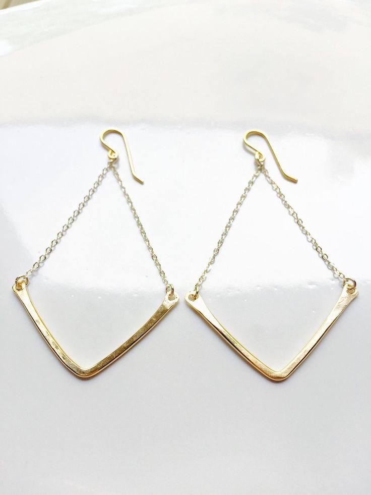 Gold Chevron Earrings Gold Chandelier Earrings Simple Gold Earrings Mixed Metal Earrings