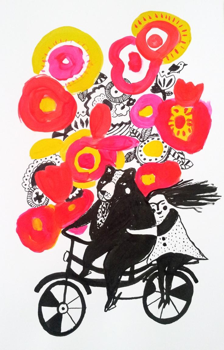 Dromen van gekleurde bloemen lieve zoenen haren in de wind een vogel die zingt in de zon, zij aan zij geluk is zo dichtbij.  Www.rozegroen.com