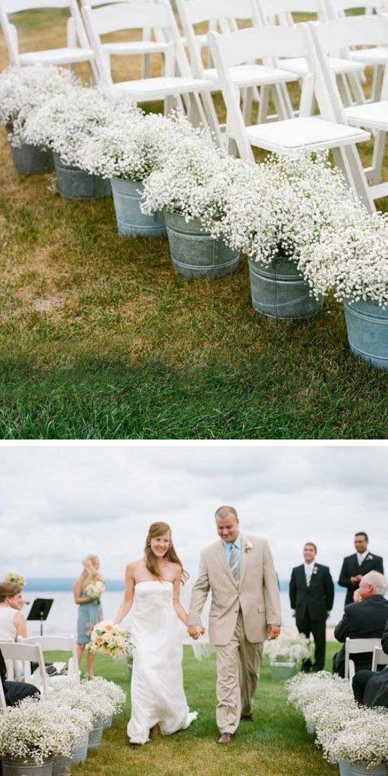 Babys Breath in Galvanized Buckets | Click Pic for 25 DIY Wedding Decorations on a Budget | DIY Rustic Wedding Decor Ideas on a Budget