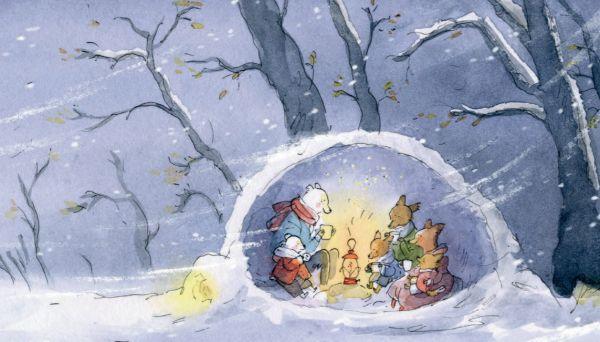 Чуть позже, когда лисенок и его семья попали в беду, мишки пригласили их в гости. Пить чай и есть печенье