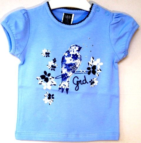 Camiseta niña de verano en azul claro estampada de Girandola - Polos y Camisetas Niño y Niña hasta los 4 Años - Mundo Kiriko