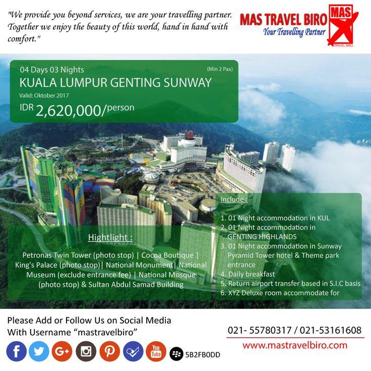 Kuala Lumpur lagi banyak promo nih traveler, buruan booking! Promo tour Kuala Lumpur Geting Sunway untung 4 Hari 3 Malam. Harga dimulai dari Rp 2.260.000    Buruan booking! Phone : 021 55780317 WA : 081298856950 Email : tourhotel.metos@mastravelbiro.com   #mastravelbiro #Promotour #penang #promotravel #travelagent #tourtravel