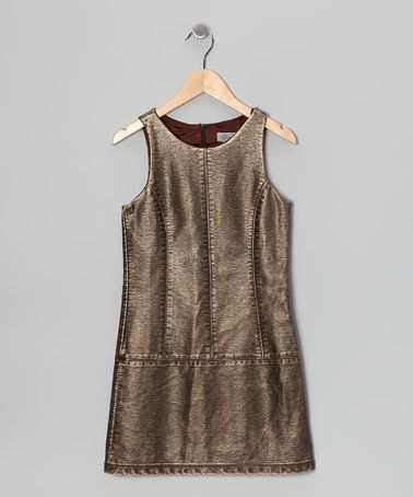 Take a look at this Brown Faux Leather & Suede Dress by Elisa B. on #zulily today!