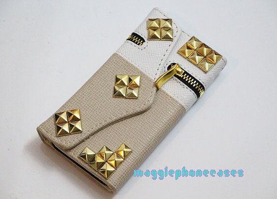 gold studs zipper iphone 5 wallet casestuds by maggiephonecases, $18.99