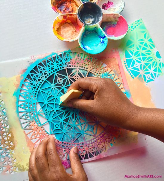 Art Journaling with StencilGirl Stencils                              …