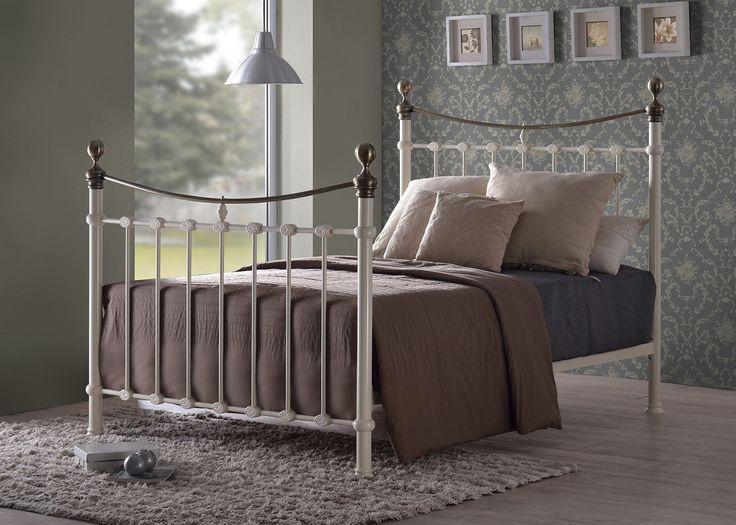 Elizabeth 5FT King Metal Bed Frame in Cream with Brushed Gold Finials