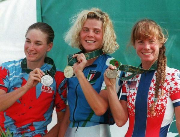 Giochi Olimpici di Atlanta 1996. Mountain Bike. Il podio olimpico, con Alison Sydor (1966), seconda, Paola Pezzo (1969), prima, Susan DeMattei (1962) terza.