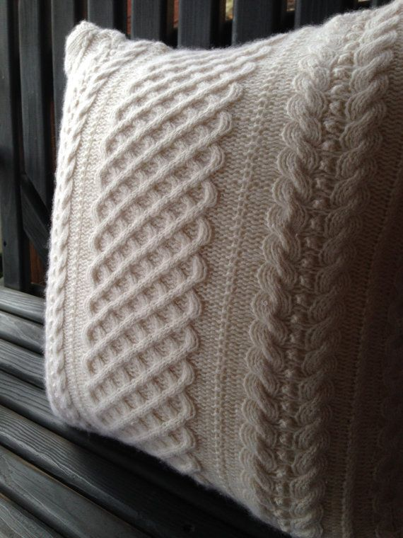 Cashmere Cable knit sweater pillow cover ski by MorningTeaRose