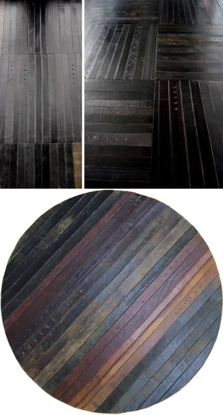 This leather belt flooring is... just gorgeous!Recycle Leather, Floor Design, Belts Floors, Awesome Floors, Floors Design, Leather Using, Recycle Crafts, Flooring, Leather Belts