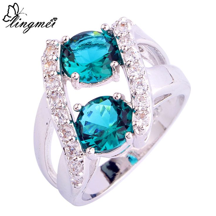 lingmei Wholesale Fashion Round Green & White CZ Silver Ring Size 6 7 8 9 10 11 12 13 Women Party JEWELRY