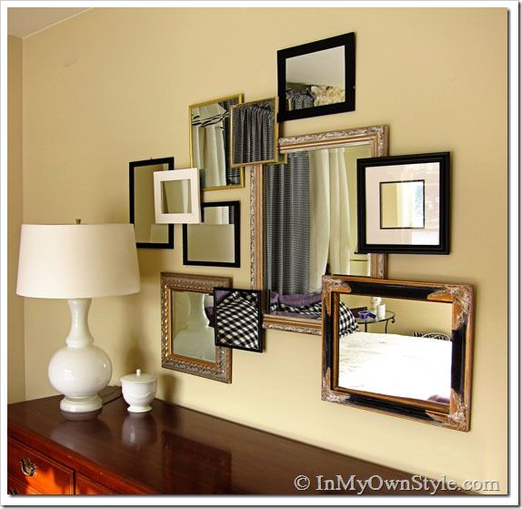 New twist for a mirror above a dresser.  Totally changed the look of the dresser!