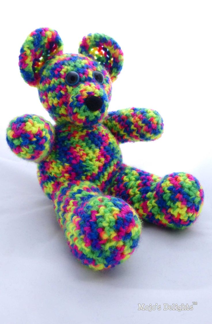 Crochet 'Rainbow' Bear by MojosDelights on Etsy