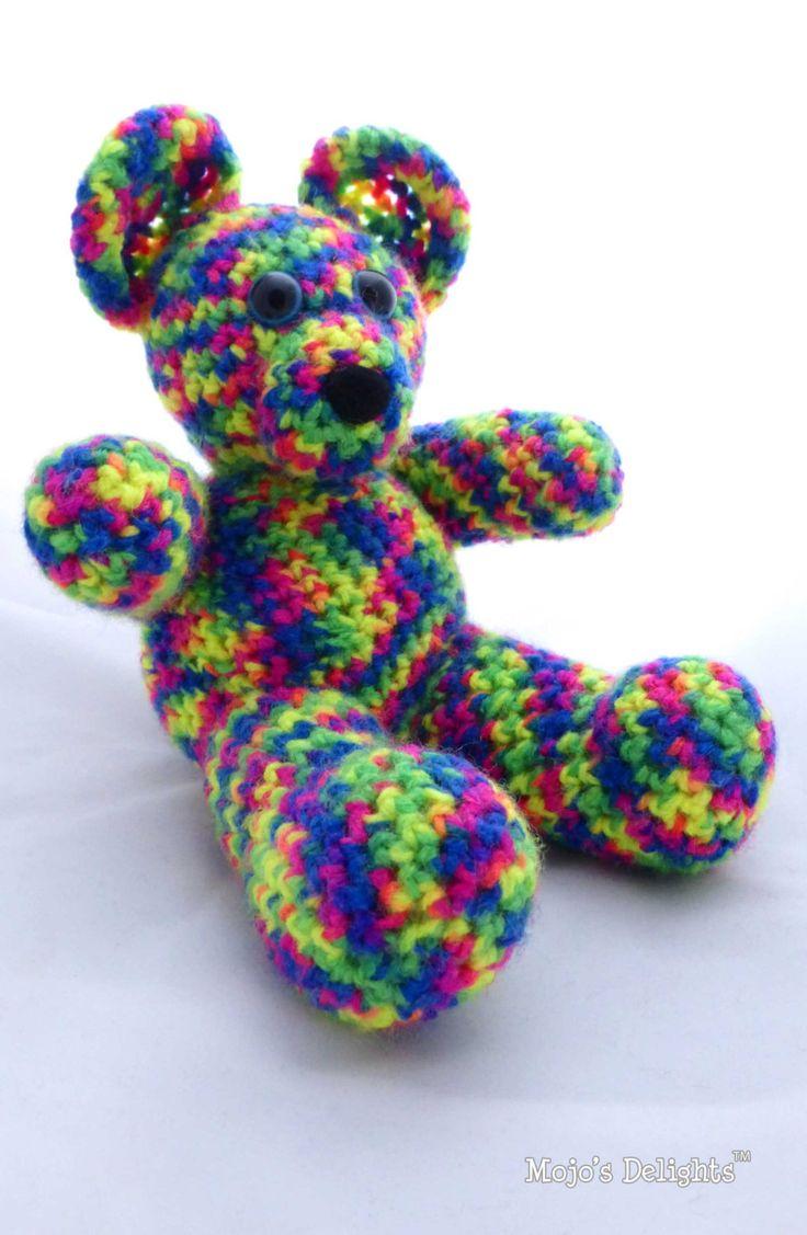 Crochet 'Rainbow' Bear by MojosDelights on Etsy