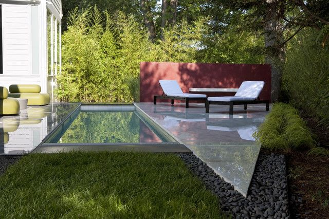 small fiberglass pools Landscape Transitional with chaise longue chaise lounge garden wall geometric geometry grass