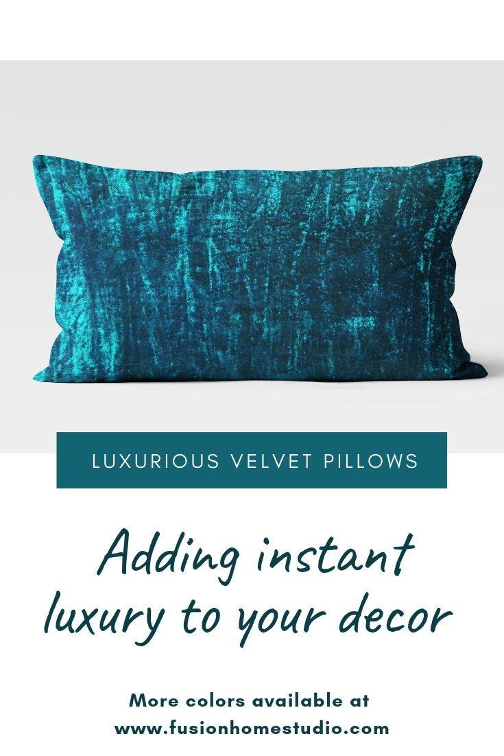 teal lumbar pillow cover velvet lumbar