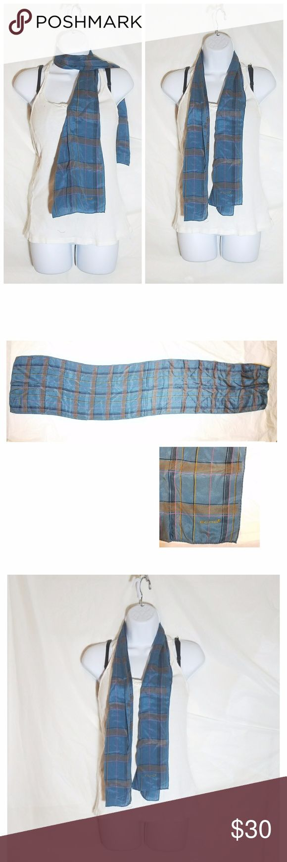 "Plaid Echo Scarf Size: 50"" long  Brand: Echo  Condition: Used  Flaws: None  silk scarf Echo Accessories Scarves & Wraps"