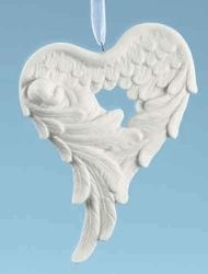 Angel Wings Remembrance Ornament - An infant is lovingly embraced within angel wings. Back of ornament can be personalized with permanent marker.