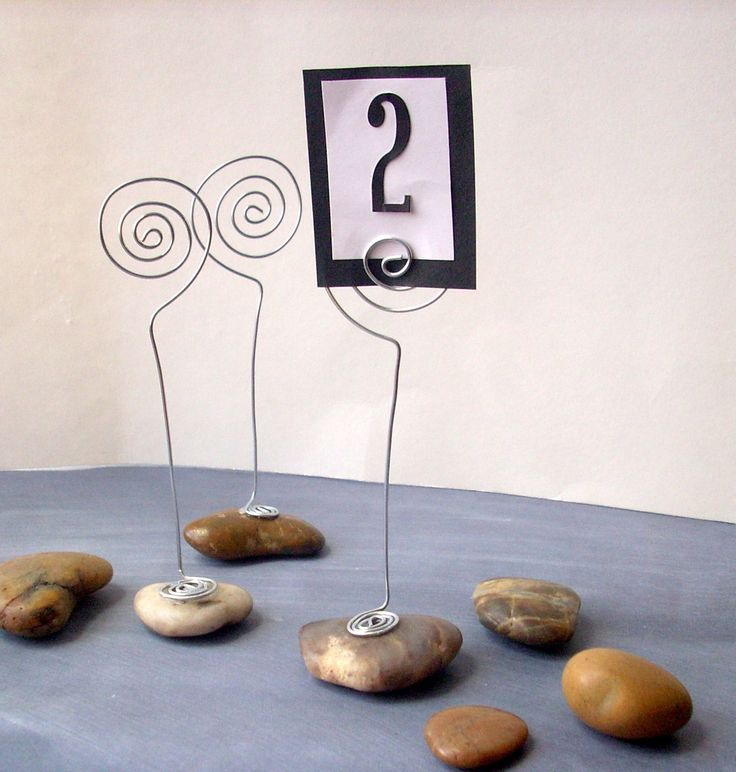 RESERVED - River Rock Place Card Holder -  for placecard, table number, sign, photo, or menu - for Wedding, Party, Shower or Special Event - Silver Wire and Natural Stone. $50,00, via Etsy.