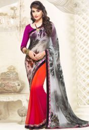 Inddus Black Printed Saree Online Shopping Store