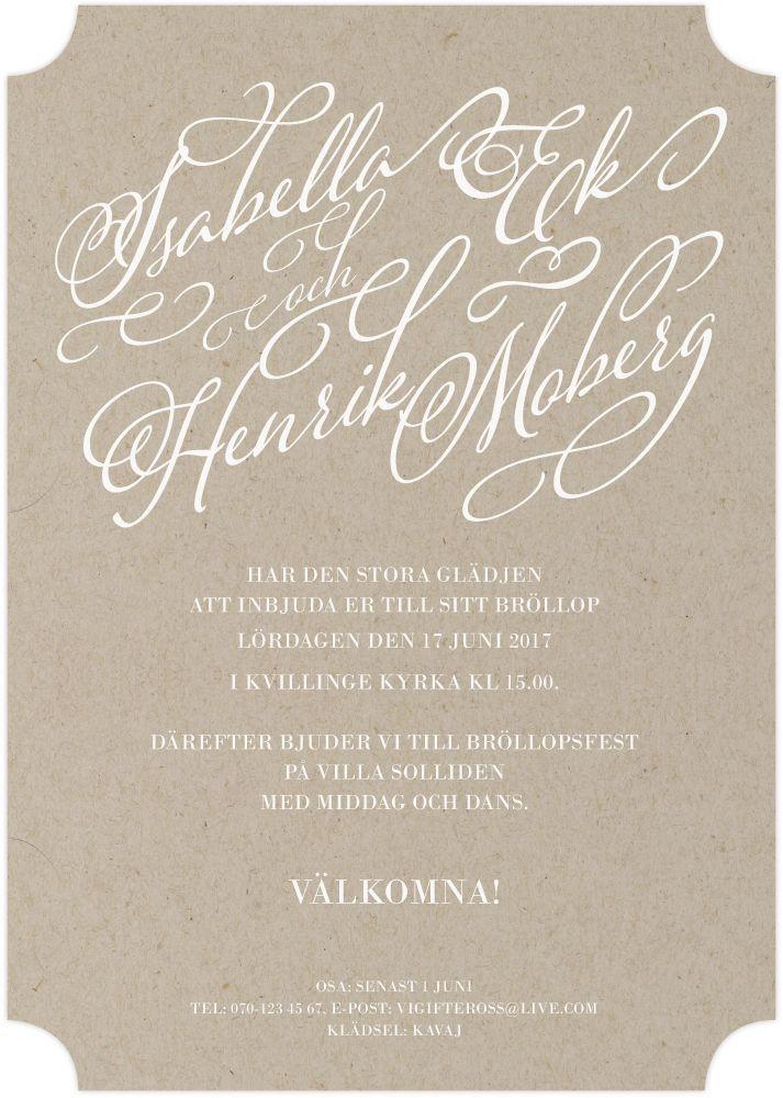 Inbjudningskort,<br>Vintage Impression, natur i gruppen BRÖLLOP / KORT / Kortserier / Vintage Impression Natur hos Calligraphen i Munkfors AB (set60166nv)