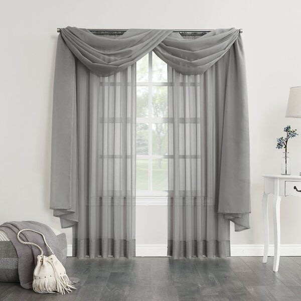 Emily Solid Color Sheer Window Curtain Scarf Scarf Curtains