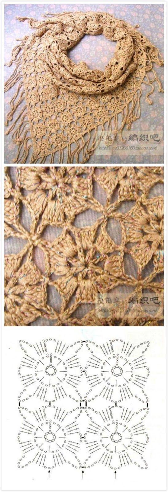 Luty Artes Crochet: Xale em crochê + Gráfico.