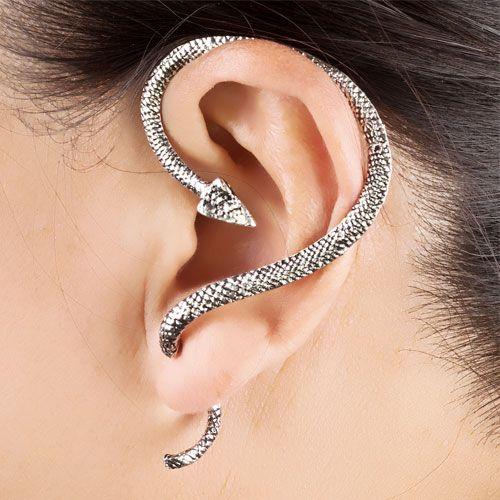 snake shaped ear cuffs #cuffearrings