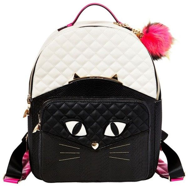 Betsey Johnson Cats Meow Backpack ($118) ❤ liked on Polyvore featuring bags, backpacks, bone black, backpack bags, faux-leather backpack, betsey johnson, quilted bags and cat bag