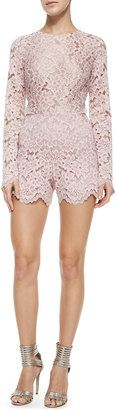 Alexis Long-Sleeve Lace Short Romper - Shop for women's Romper - PINK Romper