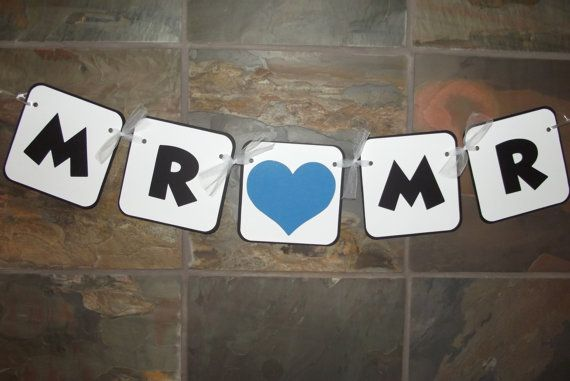 Mr and Mr Chair Sign Gay Marriage Photo Prop Banner Wedding Bridal Shower Decoration READY TO SHIP on Etsy, $9.99