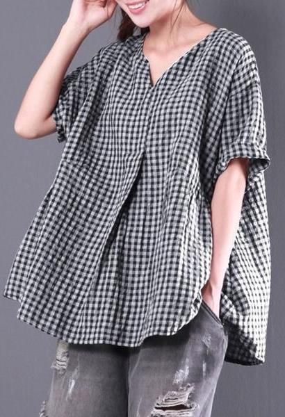 12614b97 ZANZEA Women Summer Flouncing V Neck Short Sleeve Loose Pleated Party Blouse  Baggy Check Plaid Cotton Linen Oversized Top Shirt-JetSet-JetSet