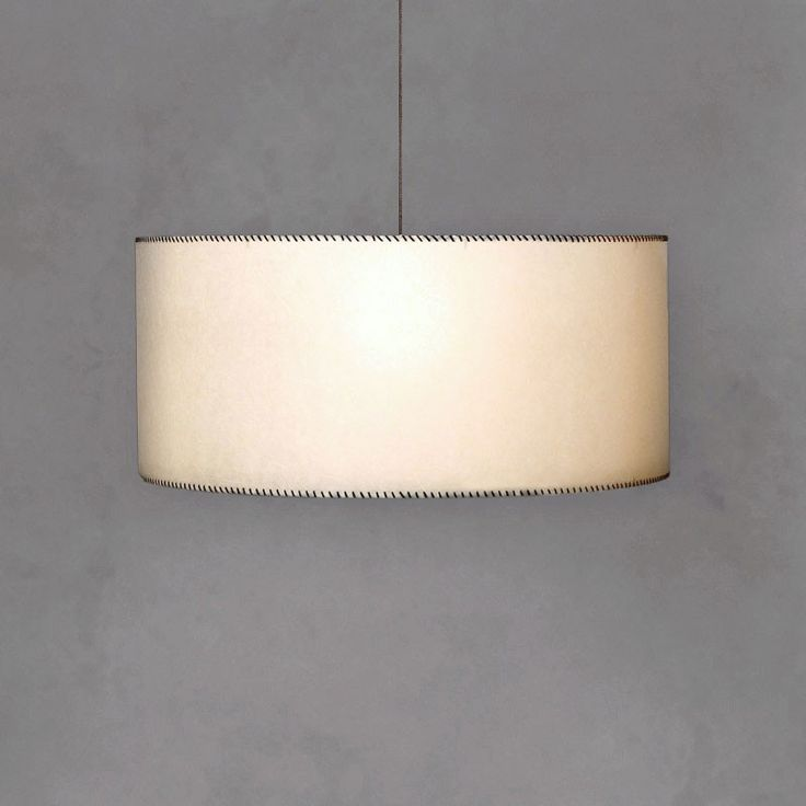 DRUM PENDANT • Hand made parchment shade with bottom diffuser • Accented with your choice of:    Leather thonging in a range of colours or    White cotton stitching or    Fabric trim http://www.momu.com.au/index.php/lighting/chandeliers-pendants/drum-pendant-custom-shade.html