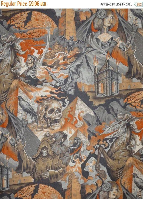 SUR fond gris et Orange vente effrayant au cœur des ténèbres imprimé pur coton--une verge
